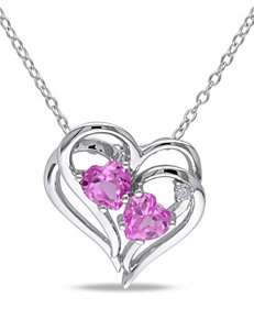 0.02 CT. T.W. Diamond & 1 CT. T.G.W. Pink Sapphire Sterling Silver Heart Necklace