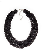 Hannah Jet Black Braided Seed Beaded Necklace