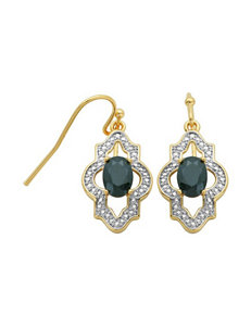 PAJ Inc. 18K Gold Plated Oval Sapphire Drop Earrings - Gift Boxed
