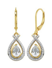 PAJ Inc. 18K Gold Plated Genuine White Topaz Pear Drop Earrings - Gift Boxed
