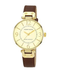Anne Klein Champagne Dial Brown Leather Strap Watch – Ladies