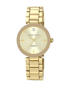 Anne Klein Champagne Dial Gold-Tone Bracelet Watch – Ladies