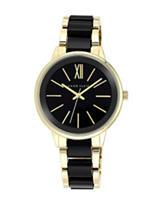 Anne Klein Glossy Dial Black & Gold-Tone Bracelet Link Band Watch – Ladies