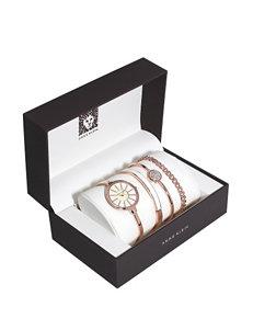 Anne Klein 4-pc. Rose Gold-Tone Bangle Bracelet Watch Set – Ladies