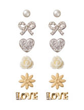 Wishful Park 6-Pair Pearl Rose Bow Love Earring Set