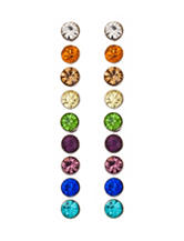Wishful Park 9-Pair Small Multicolored Stone Stud Earrings Set