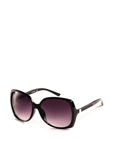 Jessica Simpson Square Glam Faux Leather Temple Sunglasses