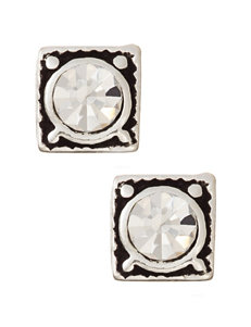 Sterling Silver Crystal Center Square Stud Earrings