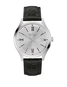 Caravelle New York Men's Black Leather Strap Watch