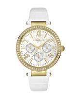 Caravelle New York Ladies Crystal White Leather Strap Watch