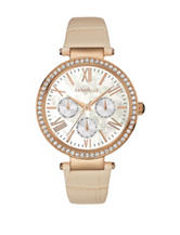 Caravelle New York Ladies Crystal Tan Leather Strap Watch
