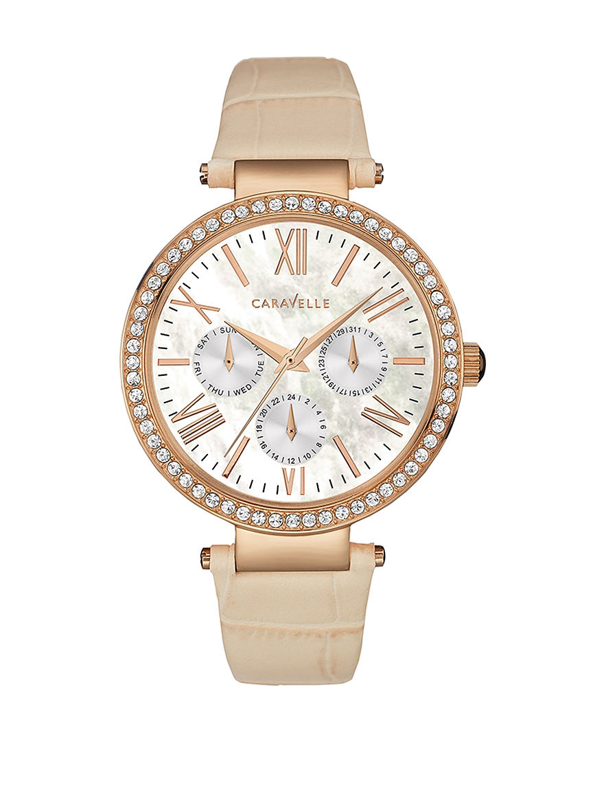 Caravelle Tan Fashion Watches