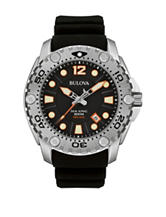 Bulova Men's Sea King Black Silicon Strap Watch