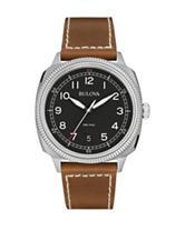 Bulova Men's Brown Leather Strap Military Watch