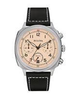 Bulova Men's Black Leather Strap Military Chronograph Watch