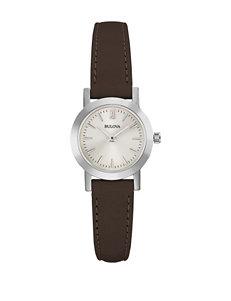 Bulova Ladies Dark Brown Leather Strap Watch
