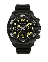 Bulova Men's Sea King Chronograph Black Silicone Strap Watch