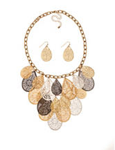 Hannah Tri-Tone Filigree Teardrop Necklace & Earrings Set