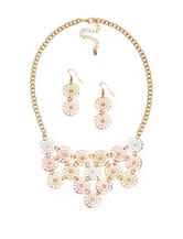 Hannah Tri-Tone Open Floral Link Necklace & Earrings Set