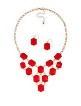 Hannah Gold-Tone Red Epoxy Hexagon Necklace & Earrings Set