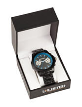 Unlisted Blue Accented Black Link Band Watch - Gift Boxed