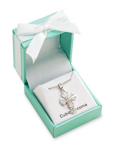 Robert Enterprises Baguette-Cut Cubic Zirconia Cross Necklace - Gift Boxed
