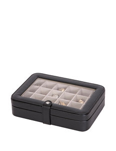 Mele & Co. Elaine Faux Leather Glass Top Jewelry Box