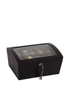 Mele & Co. Royce Locking Glass Top Wooden Watch Box