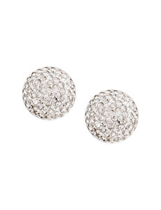 Athra Sterling Silver Clear Crystal Dome Stud Earrings