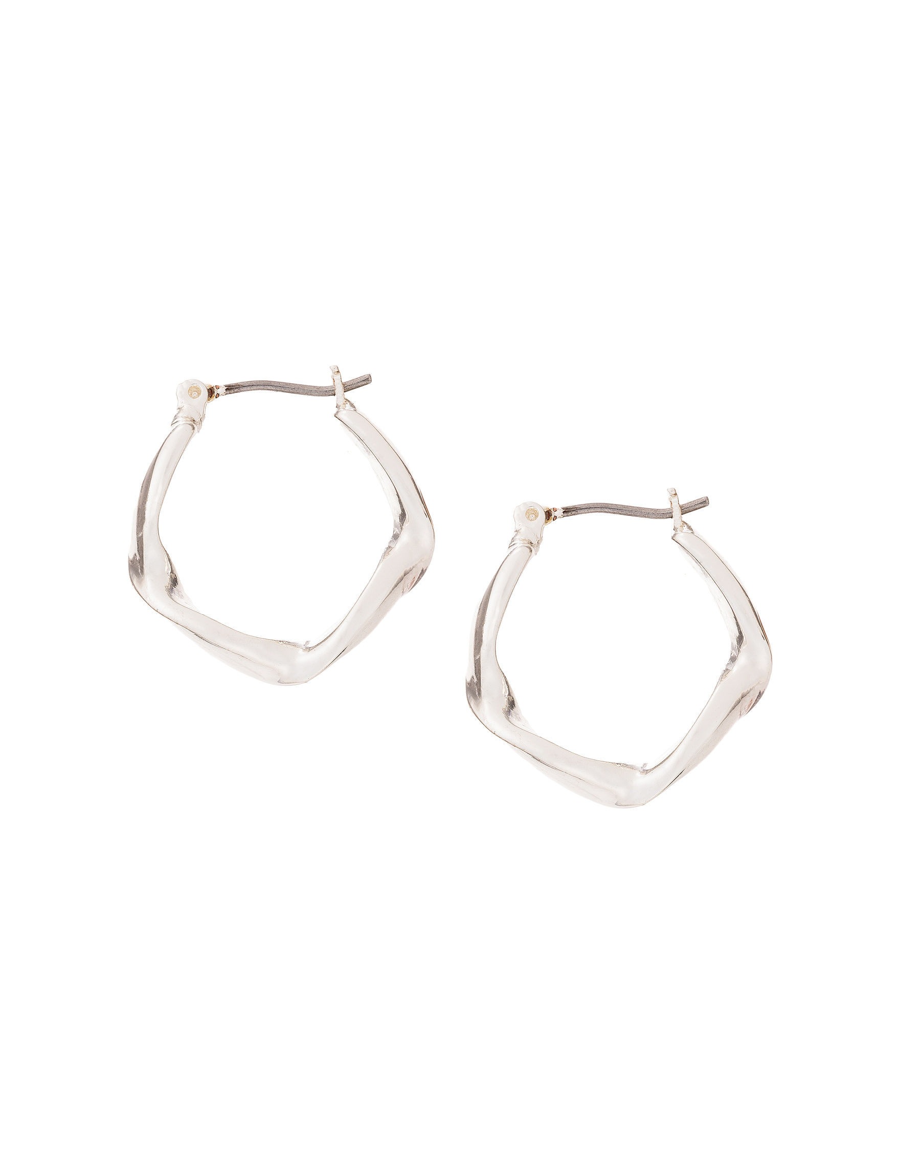 Roman White / Silver Hoops Earrings Fashion Jewelry