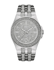 Bulova Men's Silver-Tone Crystal Accented Link Watch