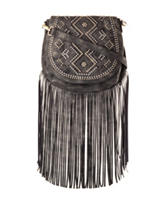 Signature Studio Fringe Stud Saddle Crossbody Handbag