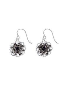 Fine Silver Plated Genuine Marcasite Opaque Flower Drop Earrings