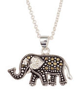 Fine Silver Plated Genuine Marcasite Crystal Elephant Necklace