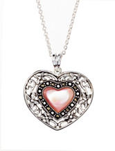 Fine Silver Plated Genuine Marcasite Opaque Heart Necklace