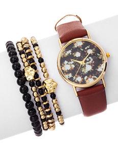 5-pc. Floral Dial Watch & Bracelet Set