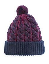 Muk Luks 2-Tone Cable Knit Pom Cuff Cap