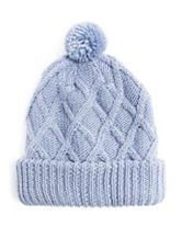 Muk Luks Textured Diamond Knit Pom Cuff Cap