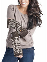 Muk Luks Brown Fair Isle Dot Arm Warmers
