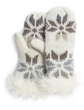 Muk Luks Ivory Snowflake Knit Mittens