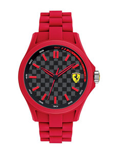 Ferrari Men's Black Dial Red Silicone Watch