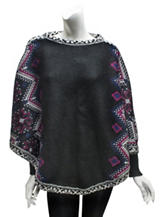 Muk Luks Ebony Snowflake Knitted Poncho