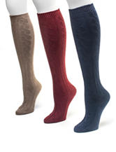 Muk Luks 3-Pair Americana Microfiber Knee High Boot Socks