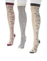 Muk Luks 3-Pair Multicolor Over The Knee Microfiber Boot Socks