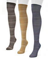 Muk Luks 3-Pair Multicolor Over The Knee Microfiber Boot Socks