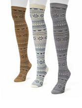 Muk Luks 3-Pair Multicolor Over The Knee Fair Isle Boot Socks