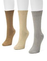 Muk Luks 3-Pair Multicolor Waffle Knit Crew Socks