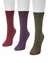 Muk Luks 3-Pair Multicolor Cable Knit Crew Socks