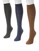 Muk Luks 3-Pair Multicolor Diamond Knit Knee High Boot Socks