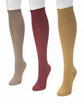 Muk Luks 3-Pair Multicolor Waffle Knit Knee High Boot Socks